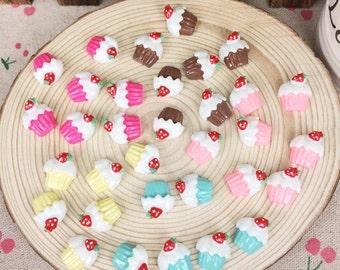20Pieces Mixed Color Resin Flatback Flat Back Cabochon Kawaii DIY Resin Craft Decoration Artificial Fake Mini Cake Food :14*15mm