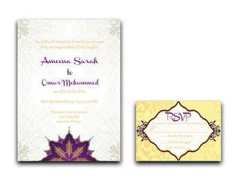 Nikah Wedding Invitation - Muslim Wedding Invitation - Nikkah Invitation - Indian Wedding Invitation - Custom Hindu Wedding Invitation