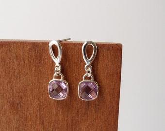Light purple earrings, crystal lilac studs, lavender wedding jewelry, sterling silver