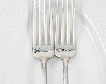Wedding Forks, Bride Groom Forks, Bride Bride Forks, Groom Groom Forks, Wedding Table Setting, Wedding Gift, Wedding Silverware