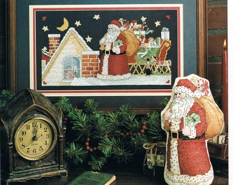 CROSS STITCH PATTERN - A Visit From Santa Cross Stitch Pattern - Christmas Cross Stitch Chart - Santa & Sleigh on The Roof