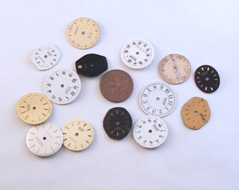 14 PCS Small Assorted Watch Faces - Metal Wrist Watch Faces - Watch Dial