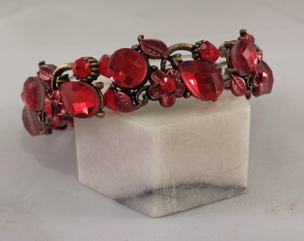 Red and Bronze Crystal Bracelet