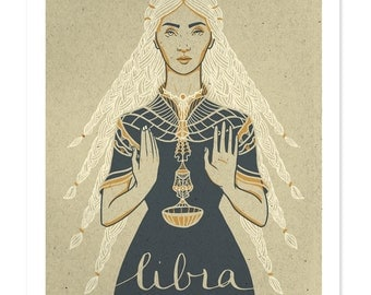 LIBRA Print SALE! Astrological Sun Sign Drawing, Zodiac Print, Illustrated Poster, Autumn Birthday Gift, Wall Art, Libra Art, Woman Design