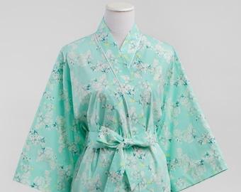 Maternity Hospital Robe • Maternity Kimono Robe • XS - Plus Size 3xl • Pre Post Delivery • Nursing • Short & Long • Floral PD Aqua Mint
