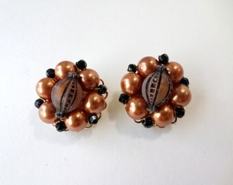 Copper Cluster Earrings Marvella Signed Gold Copper Color Pearl Beaded Round Vintage Earrings Jewelry
