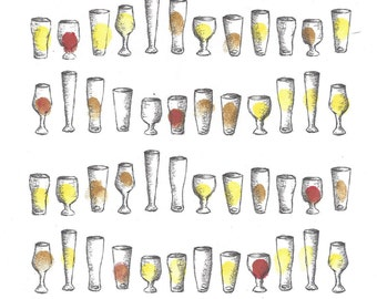 Beer Glasses Fingerprint Guest Book, Pint, Stout, Shower, Wedding, Birthday, Party, Art, Pen, Ink, Custom Printable Design