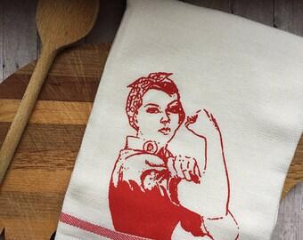 Sale We Can Do it / Rosie The Riveter Kitchen Dish towel / Red Stripe, Cream, Kitchen Decor, Kitsch, Kitschy Tea Towel, Housewarming gift