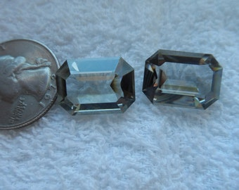 2 vintage Swarovski crystal, black diamond, radiant, 18x13mm, art 4600