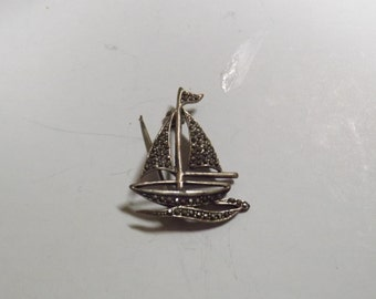 Sterling Silver and Marchaset Sailboat Brooch