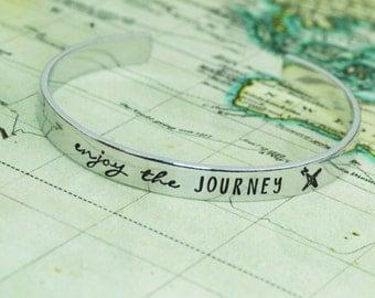 Enjoy The Journey Cuff Bracelet Aluminum Brass or Copper Bangle
