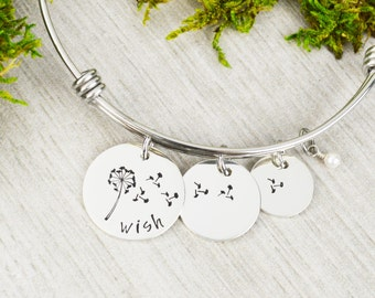 Wish Bracelet - Adjustable Bangle Bracelet - Stacking Bangle