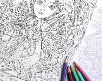 Coloring page PDF -Jane Eyre - Charlotte Bronte - Instant download - Art Printable illustration