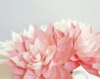 Paper Dahlias, Crepe Paper Flowers, Paper Flower Bouquet, Wedding Paper Flowers, Pink Paper Flowers, Home Decor, Floral Centerpiece