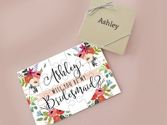 Modern calligraphy and flowers will you be my bridesmaid