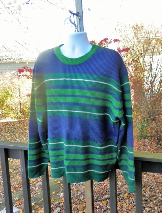 Vintage Oversize Sweater Mens Green Amp Blue Striped Sweater