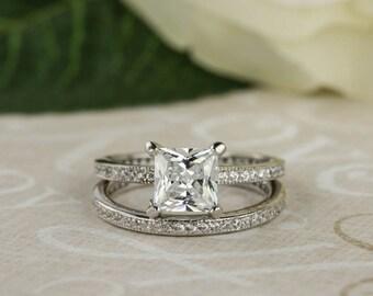 1.5 ctw Princess Eternity Bridal Set, Man Made Diamond Simulants, Engagement Ring, Channel Wedding Band, Anniversary Set, Sterling Silver