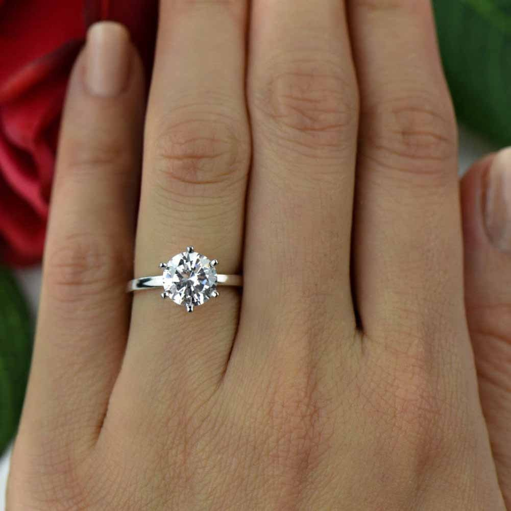2 ct classic solitaire engagement ring man made diamond. Black Bedroom Furniture Sets. Home Design Ideas
