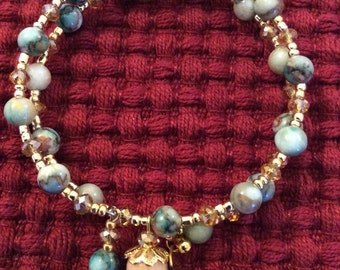 Green Marble Bead, Gold Crystal and Gold Tone Bead Bracelet with Handmade Charms