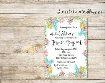 Floral Bridal Shower Invitation, Spring Summer Floral Bridal Shower Invitation, Boho Wedding Shower Invitation, Rustic Floral Invitation