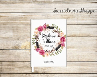 Wedding Guest Book, Custom Wedding Guest Book, Bridal Shower Guest Book, Gift For Couples, Floral Guest Book, Floral Wreath Guest Book