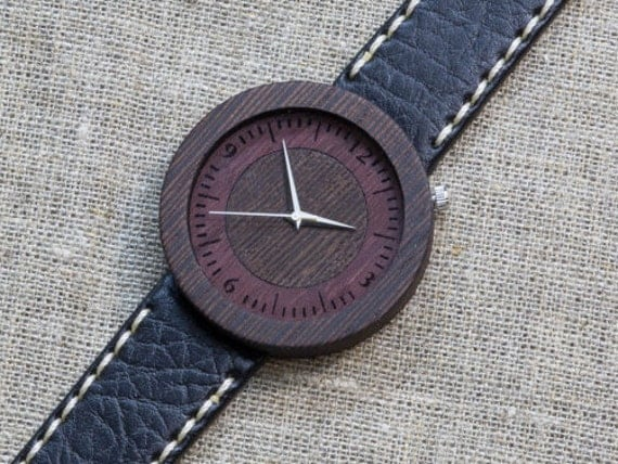 Black Wenge minimal wood watch , Majestic Watch,  Black and White Genuine Leather strap + Any Engraving / Gift Box. Anniversary  gift