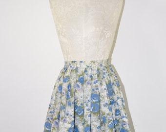 50s blue floral miniskirt / 1950s pleated full skirt / floral garden short skirt