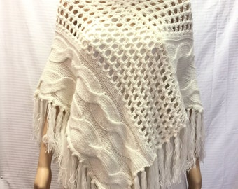 Knit Poncho,poncho top, Cable Knit, White, Gold threads, Fringed Poncho
