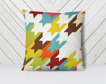 Houndstooth pillows, Bright pillow covers, Decorative pillows, Abstract couch covers, Designer pillows, Pillow cover 18 x 18, Pillow cases