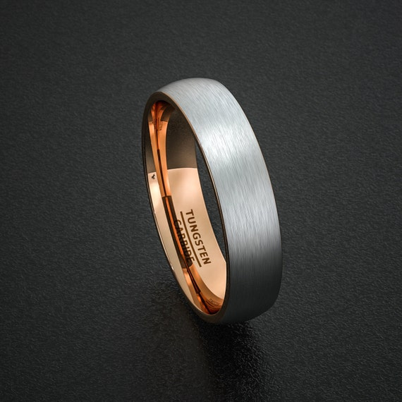 mens wedding band tungsten ring two tone 6mm brushed white with rose