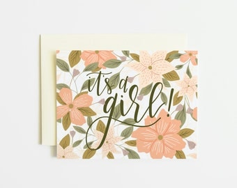 Single Card | Floral It's A Girl Card, Birth Announcement Hand Lettered Baby Greeting Card