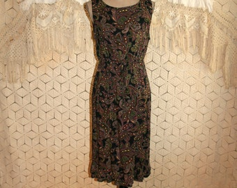 90s Rayon Dress Women Sleeveless Summer Dress Black Paisley Grunge Dress Bohemian Print Dress Medium Vintage Clothing Womens Clothing