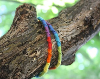 Colourful Rainbow Friendship Bracelet, LGBT Macrame Bracelet, Gay Pride, Home-made Chinese Staircase Bracelet
