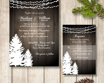 Winter Wedding Invitation, Printable Christmas Wedding Invitation, Rustic Holiday Wedding Invitation/RSVP, Pine Trees and Strings of Lights