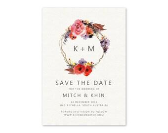 Rustic Wedding Save the Date, Rustic Chic Wedding, Save the Date Card, Autumn Save the Date, Autumn Wedding, Floral Wreath, WFB01