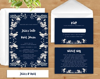 Navy Blue Wedding Invitation. White Flowers Invite. Floral Wedding Invitation. WFN
