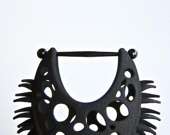 Black Venus Flytrap Earring - Stretched Ear Gauges - Carnivorous Plant Body Jewelry