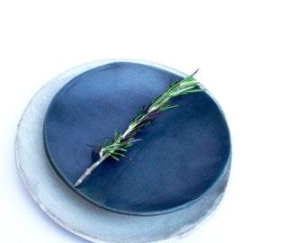 Small Matte Black Plate / Salad Plate / Pasta Plate / Appetizer Plate / Dessert Plate / Handmade Slab Plate