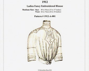 Digital Antique Sewing Pattern Sz MEDIUM only ~ 1912 Edwardian Blouse w high collar ~ Full Size PDF to Print at Home (Pattern#1912-A-001)