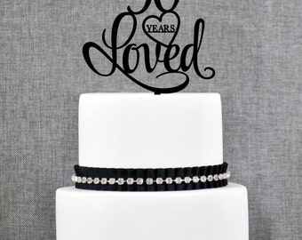 90 Years Loved Cake Topper, Classy 90th Birthday Cake Topper, Elegant Ninetieth Cake Topper- (T244-90)