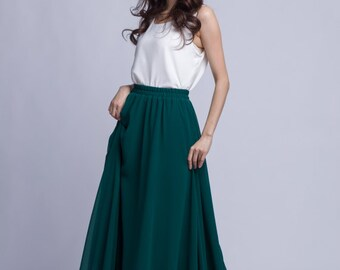 Chiffon Maxi Skirt High Waist Long Skirt Silk Skirts Elegant
