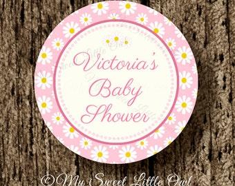 Pink Daisy cupcake topper - daisy printable - daisy baby shower - daisy pink label - daisy party favor tag - daisy birthday - daisy party
