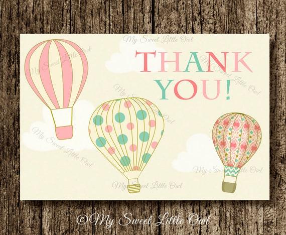 Balloon Tag: Hot Air Balloon Thank You Card