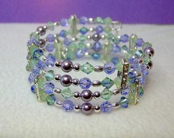 Provence Lavender & Chrysolite Crystal Memory Wire Bracelet