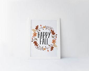happy fall printable · fall art print · fall foliage print · autumn wall art · happy fall printable · typographic print · fall home decor