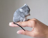 miniature mouse hand painted realistic animal totem soft toy mini plush textile art cabin rustic home decor black and white cotton fabric