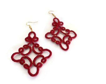 Tatted red lace earrings //Tatting lace//frivolite//Tatted jewelry//Lace jewelry//Lace earrings//Red earrings