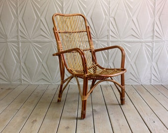 Vintage Rattan Arm Chair Curved Bamboo Cane Franco Albini Style Boho Wicker Mid Century Modern 60's 70's Retro