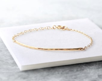 Curved hammered bar bracelet - dainty gold or silver bar bracelet - delicate gold bracelet - long gold bar bracelet - 14k gold fill