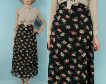 90s High Waisted Floral Maxi Skirt w Sheer Overlay